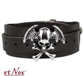 Armband 'Winged Skull On Leather'
